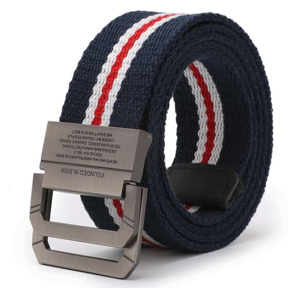 Extreme (JEVI) Outdoor Sports Casual Canvas Belt Men's Double Ring Buckle Belt Teen Student Trend Fashion Pants Belt YD-3153 Red White Blue Length 115cm