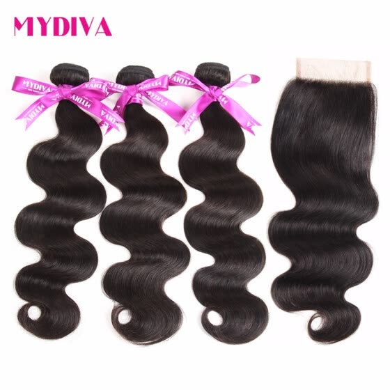 Mydiva Peruvian Body Wave Human Hair 3 Bundle With Closure Free Part Hair Weave Bundles With Lace Closure 4pcs/lot Non Remy