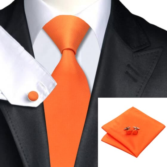 N-0266 Vogue Men Silk Tie Set Orange Solid Necktie Handkerchief Cufflinks Set Ties For Men Formal Wedding Business wholesale