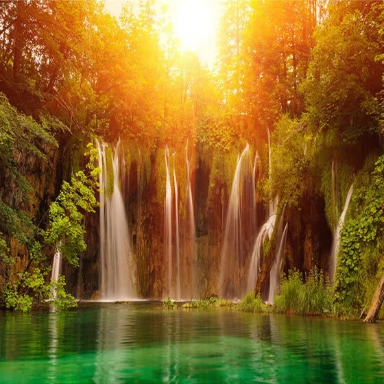 Custom Wall Mural Photo Wallpaper Modern Living Room Sofa TV Background Art Painting Sunshine Forest Waterfall 3D Wall Paper