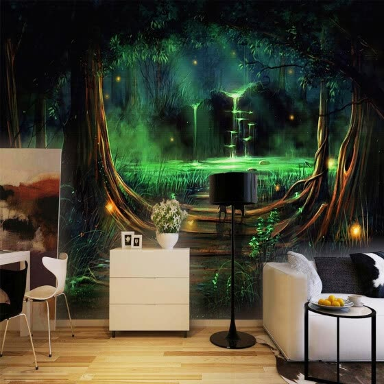Wall Home Decor Custom Photo Wallpaper 3D Abstract Forest Waterfall Animal Children Room Bedroom Non
