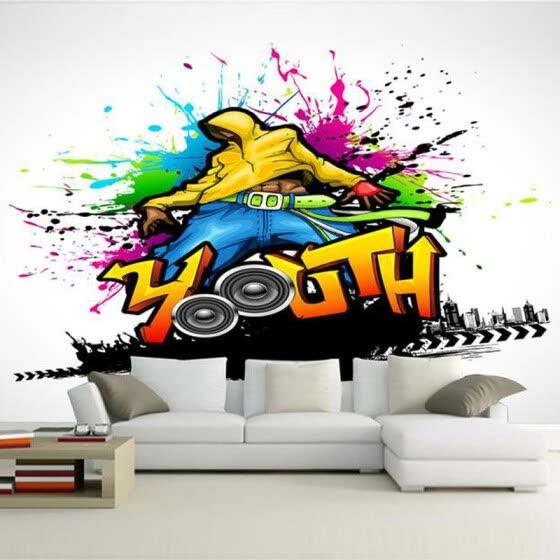 Shop Custom Mural Wallpaper Colorful Music Dance Graffiti Art Wall