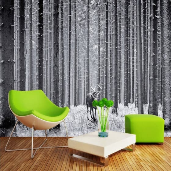 Shop Photo Wallpaper Black White Forest Art Tv Background Wall
