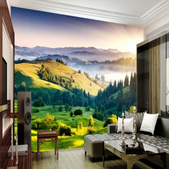 Shop Custom 3d Mural Grassland Scenery 3d Landscape Bedroom