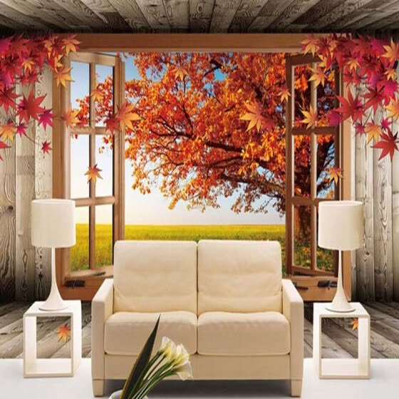 Shop Custom 3d Landscape Photo Wallpaper Natural Autumn Scenery Yellow Leaves Wall Mural Home Improvement Bedroom Room Tv Backdrop Online From Best Wall Stickers Murals On Jd Com Global Site Joybuy Com
