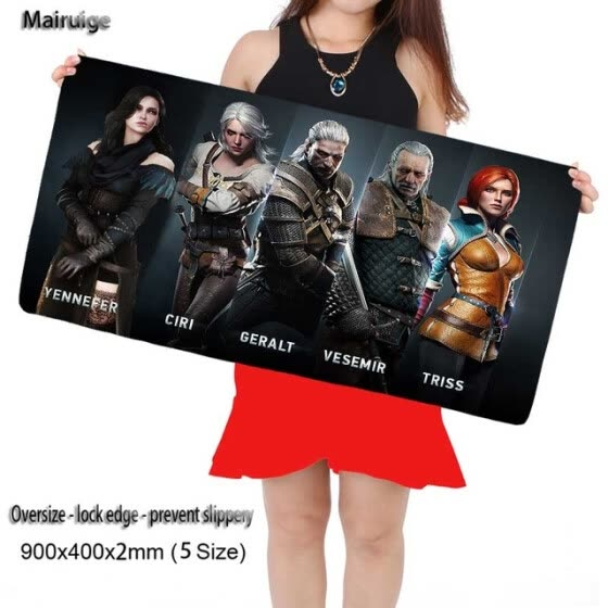 Mairuige Witcher 3 Gaming 900X400X3MM Large Mouse Pad Locking Edge Mousepad Mat for Dota2 CS Mouse Mice Pad for Game Player As Gif