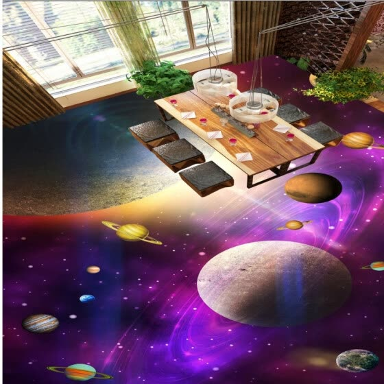 Free shipping custom moisture proof self-adhesive Fantastic Star Bathroom Bedroom 3D Floor thickened wallpaper floor 250cmx200cm