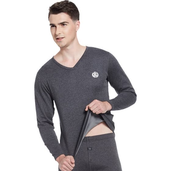 Seven wolves men's thermal underwear shirt single autumn and winter invisible V-neck stretch Slim plus velvet thick autumn clothing single piece 99297 dark gray XL