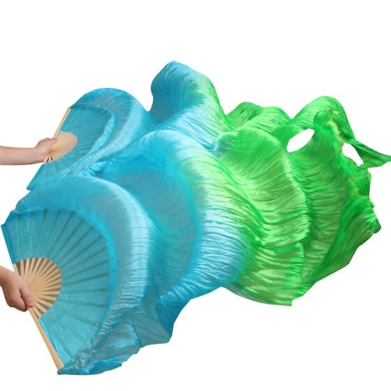 New Arrivals Stage Performance Dance Fans 100% Silk Veils Colored 180cm Women Belly Dance Fan Veils 2pcs Turquoise+Green