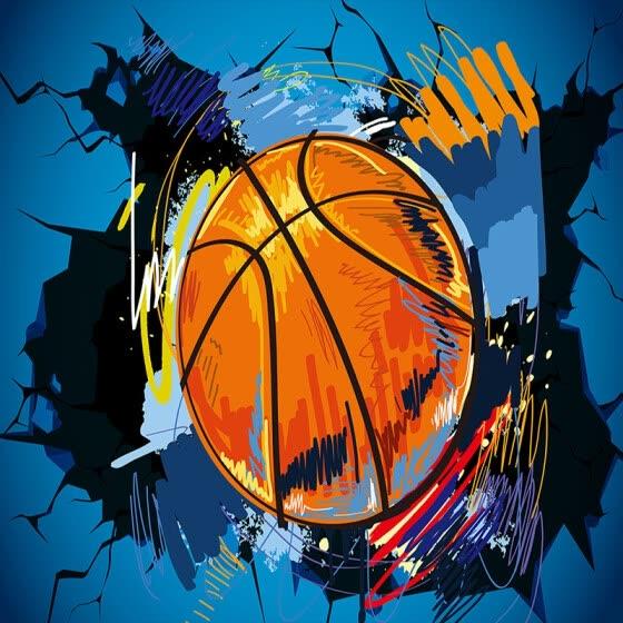 Shop Custom 3d Photo Wallpaper Modern Simple Basketball Broken