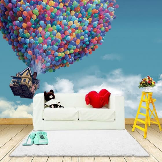 Custom Photo Wallpaper 3D Wall Murals Wallpaper Hot Air Balloon Blue Sky White Clouds Background Large Wall Painting Living Room