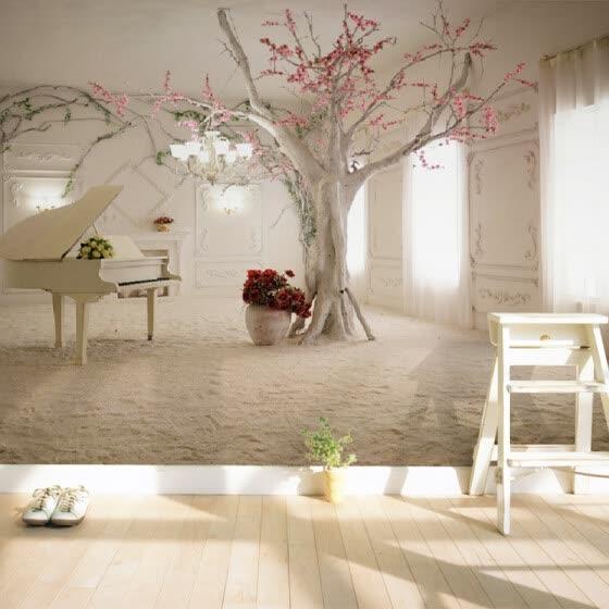 Modern Art Piano Tree Branch Photo Wallpaper Dining Room Living Sofa Backdrop Wall Painting 3D