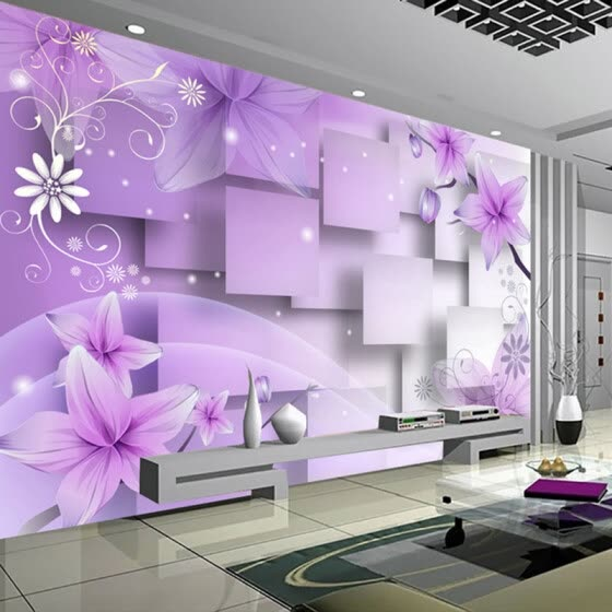 Custom 3D Photo Wallpaper Modern Abstract Art Wall Painting Purple Flowers Living Room TV Background Home Decor Wall Paper Mural