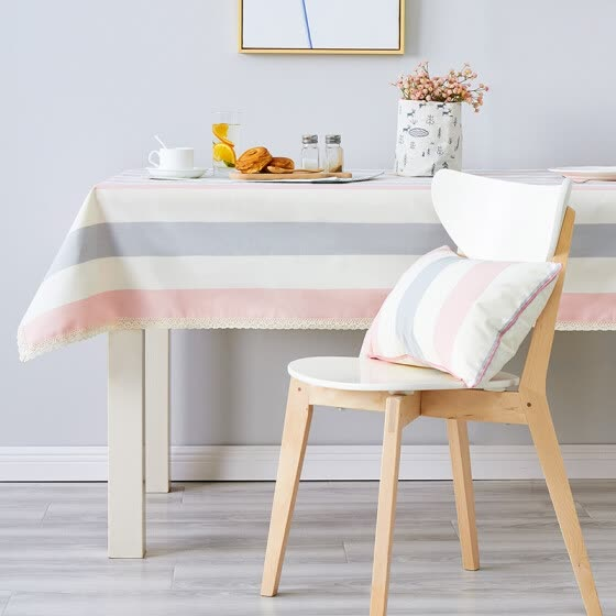 Brilliant Chinese New Year Jane Eyre striped table cloth dyed fabric table coffee table cloth cushion set custom pink lace 130 * 180cm