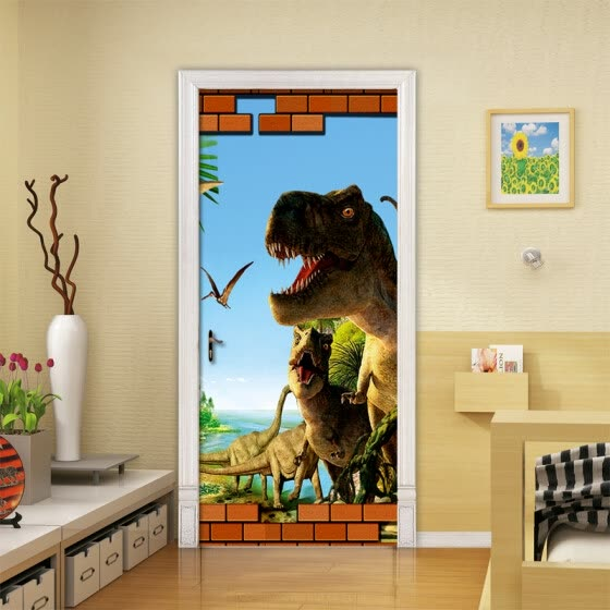 3D Cartoon Dinosaur Animal Wallpaper 3D Mural Wall Stickers Kids Bedroom  Door Home Decor PVC Waterproof 1c91e331be