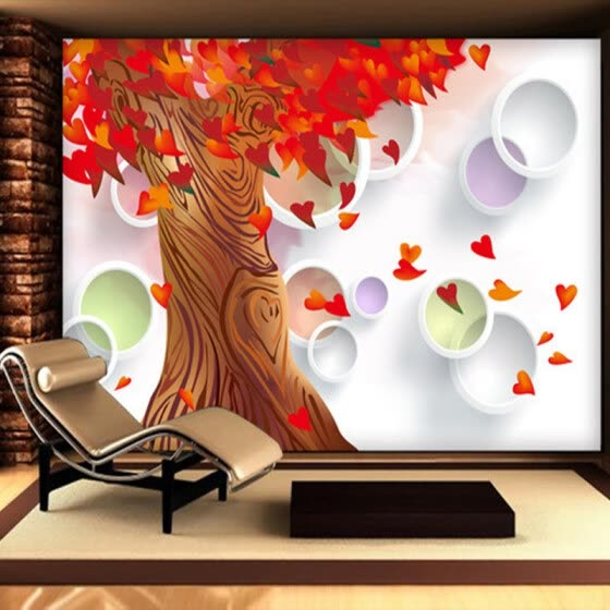 Shop Custom 3d Wall Murals Wallpaper Red Maple Trees Love