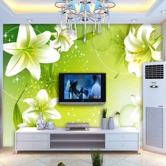 Shop Custom Mural Wallpaper Romantic Green Lily Flowers