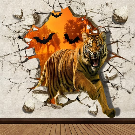 Photo Wallpaper Colour Tiger wall GIANT WALL DECOR PAPER POSTER FOR BEDROOM