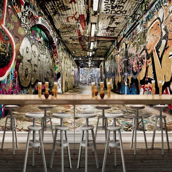 Custom Mural Wallpaper 3D Space Street Graffiti Hip-hop Bar KTV Backdrop Wall Painting Art Wallpaper WallCovering Papel De Pared