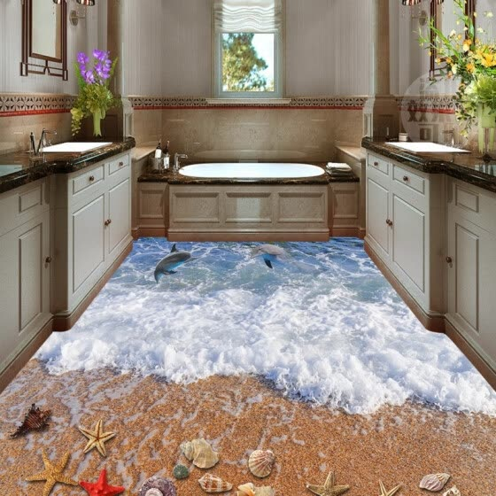 Free Shipping 3D surf beach shell sea star flooring painting lobby hallway bathroom non-slip Floor wallpaper mural 250cmx200cm