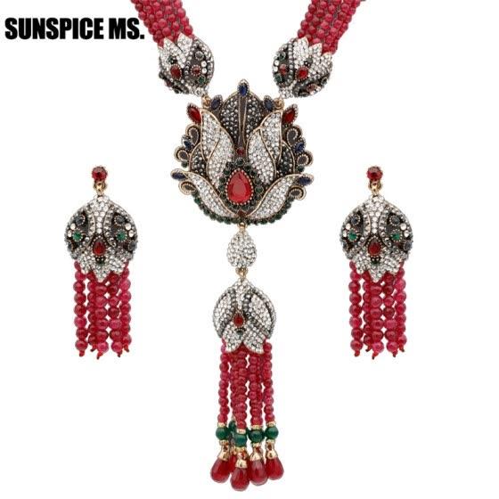 cd6e2f5fc Natural Stone Tassel Necklace Crystal Flower Drop Earrings Women Vintage  Jewelry Set Antique