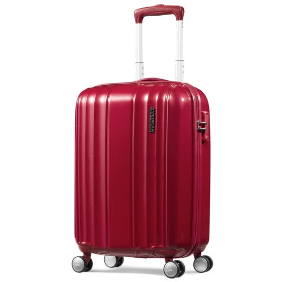 American travel luggage AmericanTourister Garland series vertical pattern wear-resistant compression fashion men and women universal wheel trolley case BX7 * 00001 red 21 inches