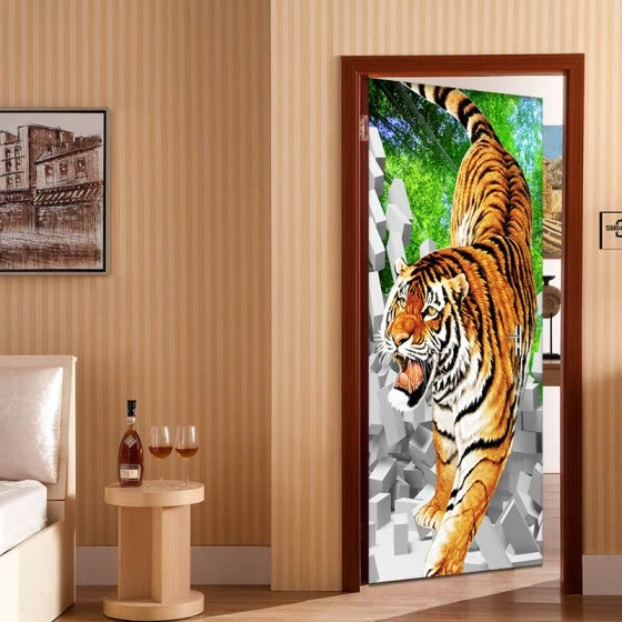Shop Pvc Self Adhesive 3d Mural Stereo Tiger Broken Wall