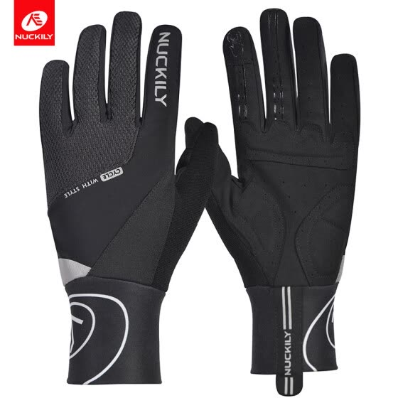 NUCKILY Winter Unisex Riding Shockproof Long Finger Gloves Screen Touch Cycling Gloves Outdoor Sport Bicycle Gloves