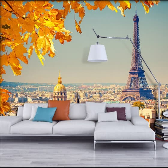Custom 3D Mural Wallpaper For Wall Straw European City Eiffel Tower Yellow Leaves Wallpaper Modern Room Backdrop Home Decor