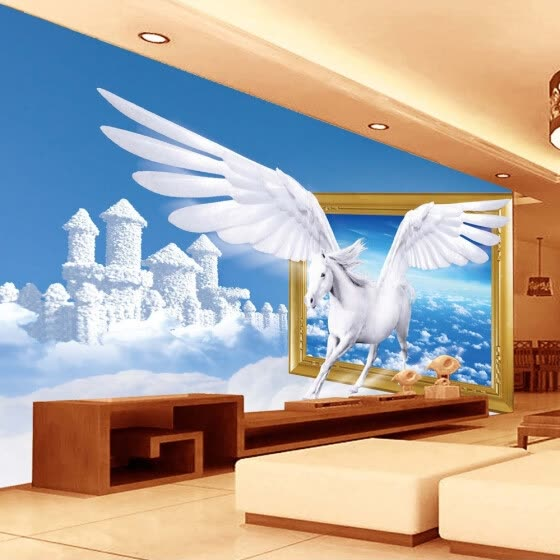 Custom Photo Wallpaper Blue Sky White Clouds Horse Creative Art Living Room 3D Wall Mural Wall Papers Home Decor Modern Painting