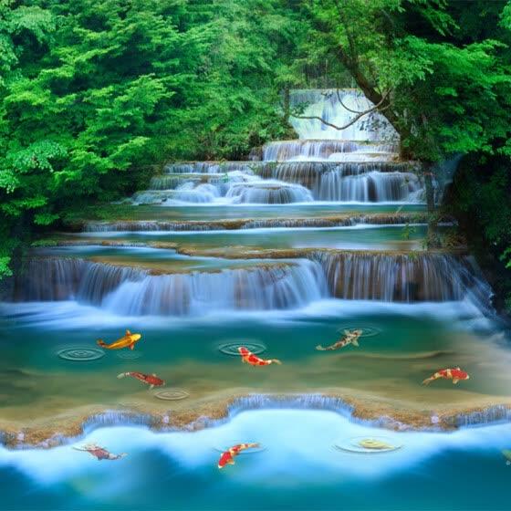 Cascada Hd Agua Corriente Goldfish Foto Mural Wallpaper