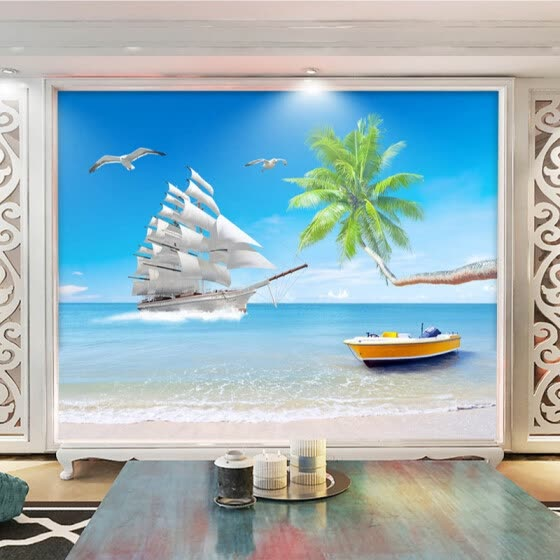 Beach Sea View Custom 3D Photo Wallpaper For Living Room Background Wall Large Murals Modern Wall Painting Wallpaper Home Decor