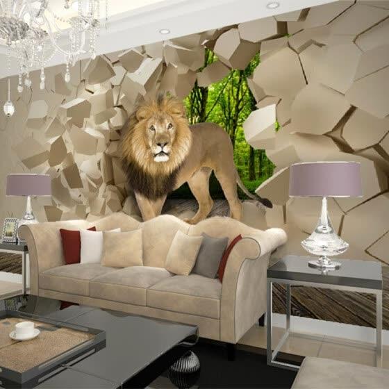 Shop Custom Photo Wallpaper 3D Stereoscopic Lion Broken Wall ...