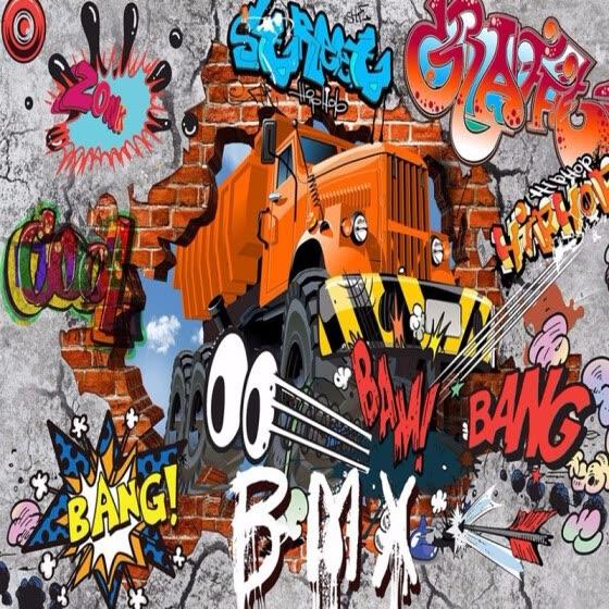 Shop 3d Cartoon Big Truck Broken Wall Out Wall Mural For Kids Custom