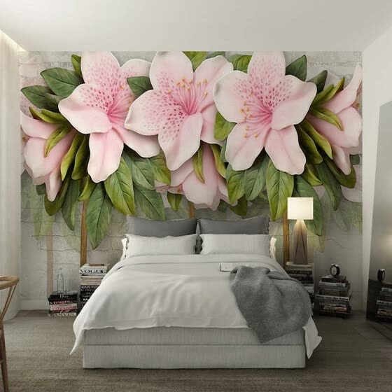 Custom Photo Wall Paper 3D Stereoscopic Relief Pink Flower Leaf Brick Wall Painting Mural Living Room TV Background Home Decor
