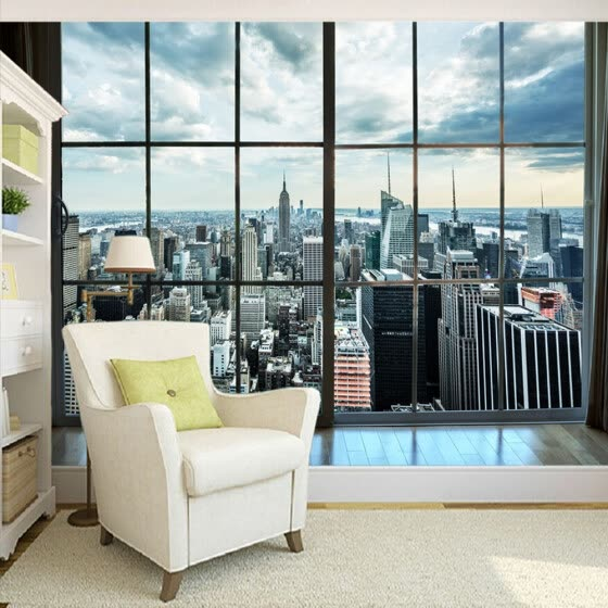 Shop Custom Photo Wallpaper New York City Building Window Landscape