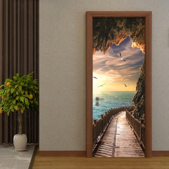 3D Wallpaper Beautiful Seaside Landscape Photo Wall Door Mural Living Room Bedroom Creative DIY Door Sticker PVC 77cmx200cm