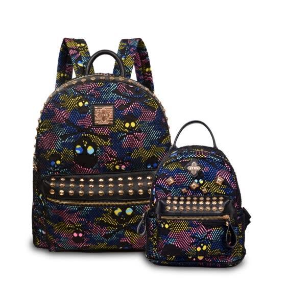 New fashion children school bags Rivet Backpacks Skull Head Alligator Bag  Women Double Shoulder Bags female 8d5e44fc7e