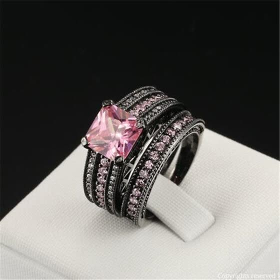 2f08ad137 Black Gold Color Pink Square crystal Luxury Bijoux Fashion Cocktail Party  Ring Set CZ Crystal Jewelry