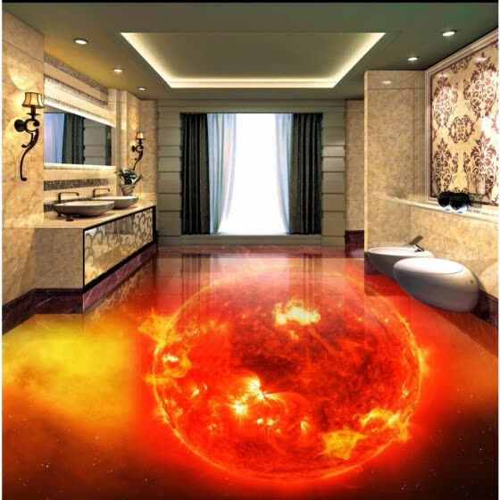 Shop Free Shipping Flame Burning Earth 3d Floor Painting
