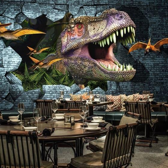 Shop Papel De Parede 3d Paisagem Retro 3d Embossed Dinosaur
