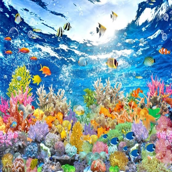 HD Underwater World 3D Mural Wallpaper Living Room Kids Bedroom Backdrop Wall Painting Fresco Non-Woven Papel De Parede Sala 3 D