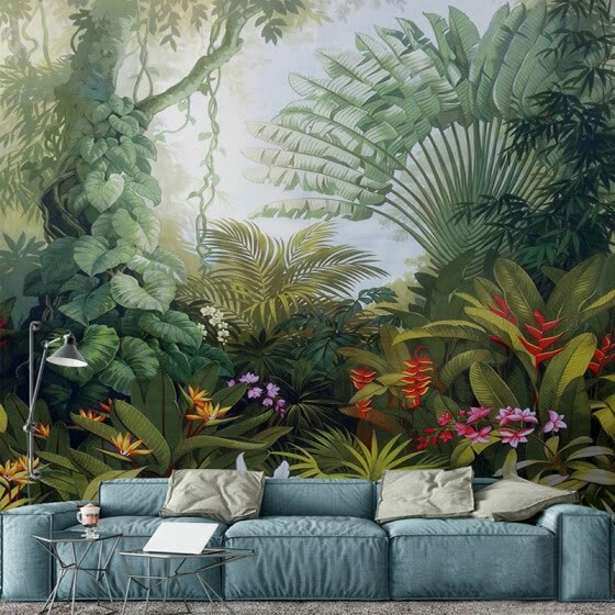 Shop Custom Mural Wallpapers European Style Retro Tropical