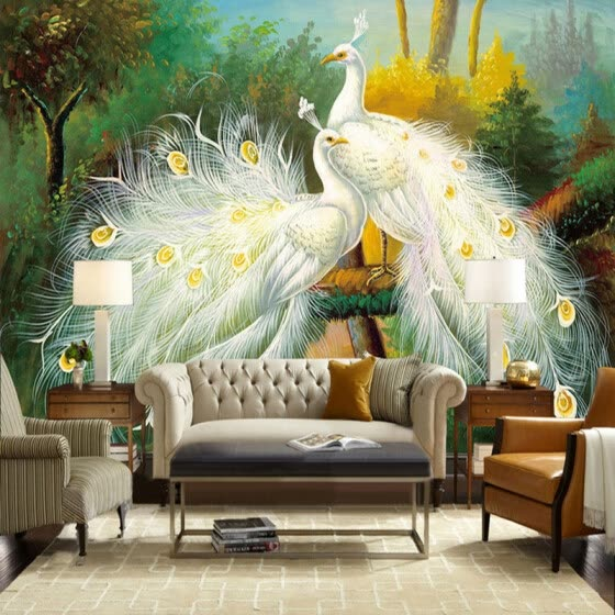 Custom 3D Mural Wallpaper Beautiful White Peacock Forest Landscape Painting Fresco Living Room Restaurant Bedroom Art Wallpaper