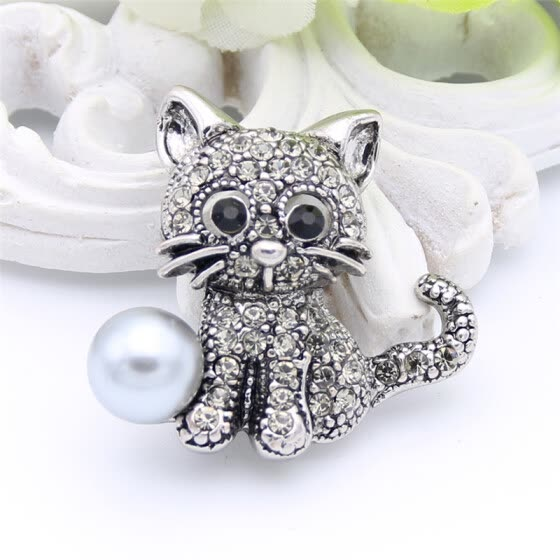 Lucky Zodiac Animal Cute Cat Brooch Pin For Women Rhinestone Animal Brooches Broches Simulation Pearl Russia Lapel Corsage Pin