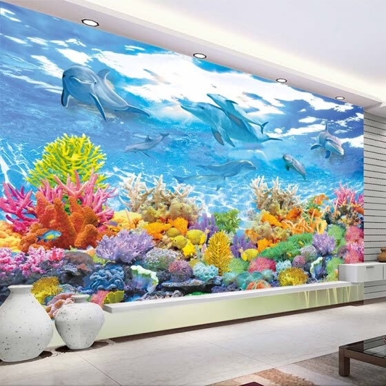 Shop Custom Photo Wall Paper 3d Underwater World Wall Painting
