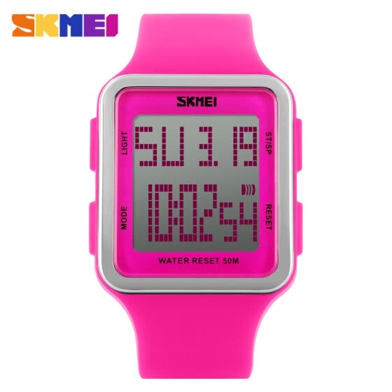 Women Men Sport Watch Candy Color Silicone Square LCD Digital Sport Watch