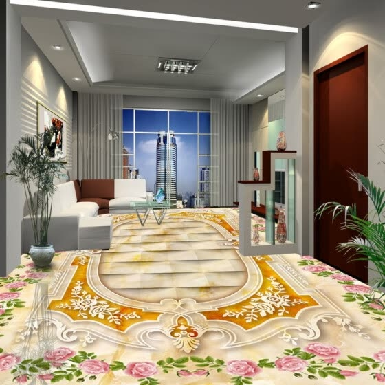 Shop Free Shipping Custom 3d Floor Waterproof Photo Bathroom