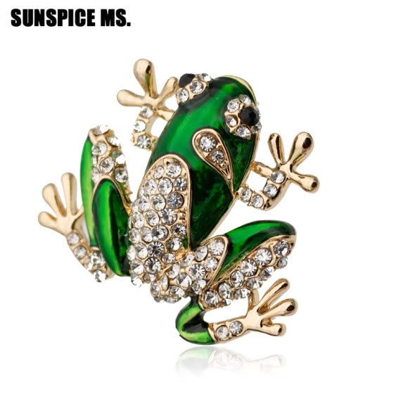 Fashion Frog Animal Brooch For Women Corsage Jewelry Enamel Pins Crystal Men Brooches Broches Banquet Casual Accessories Gift