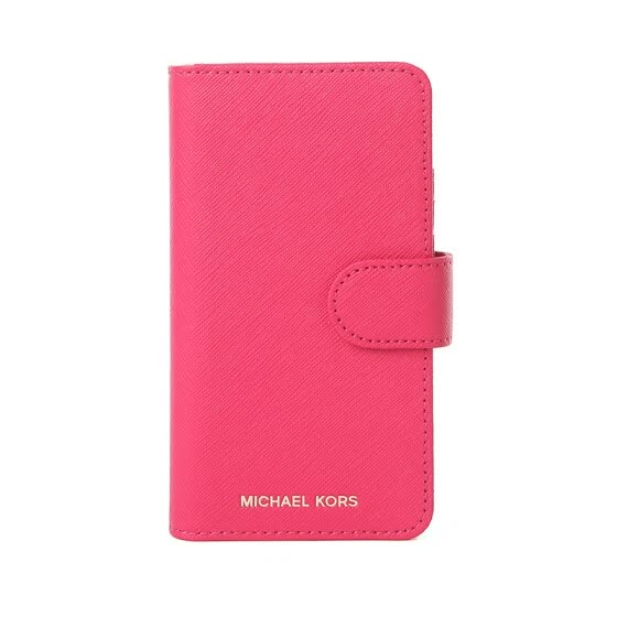 MICHAEL KORS Mike Coles MK mobile phone case iphone7/iphone8 Rose red leather cross embossed mobile phone case 32S7GE7L4L ULTRA PINK